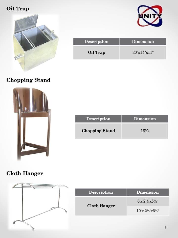 Chopping Stand, Oil Trap, Cloth Hanger