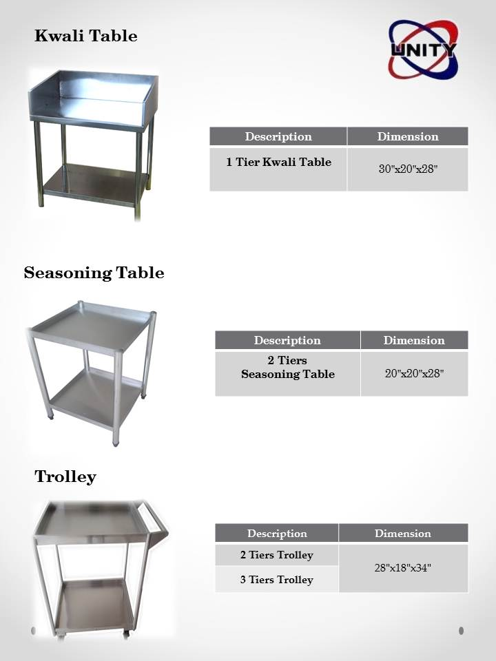 Kwali Table, Seasoning Table, Trolley
