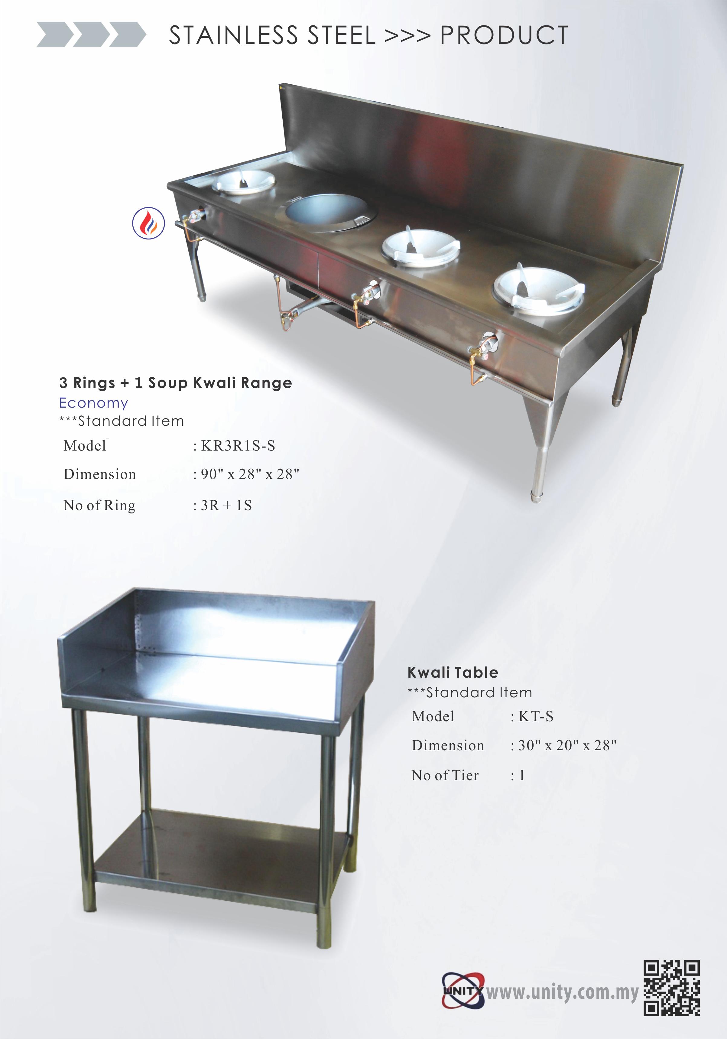 3 Burner 1 Soup Kwali Range & Kwali Table